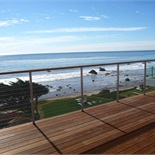 Stainless Steel Cable Rail with Wood Cap in Malibu, CA